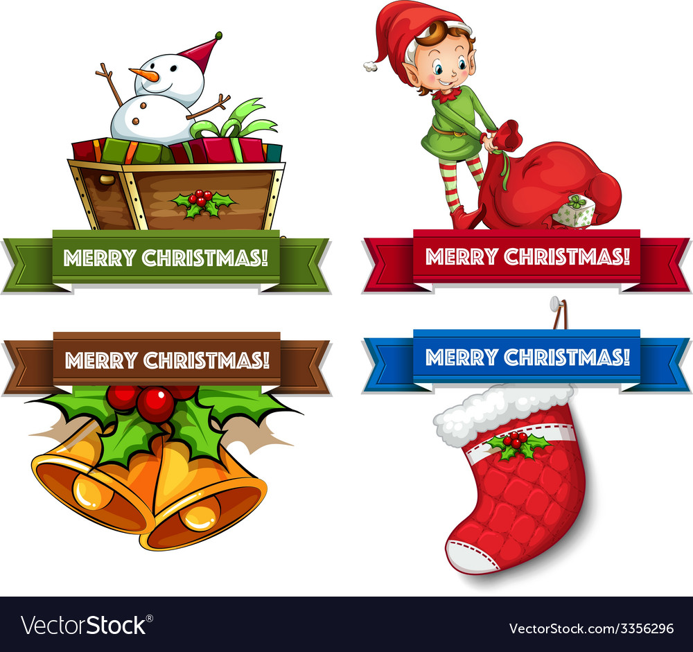 christmas logos vector image - Merry Christmas Logos