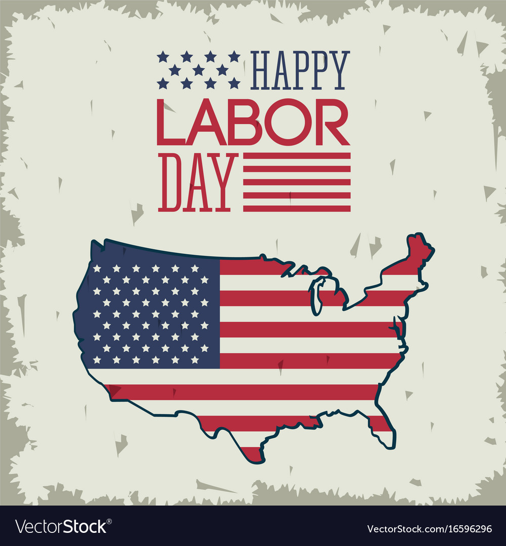 Colorful poster of happy labor day with american