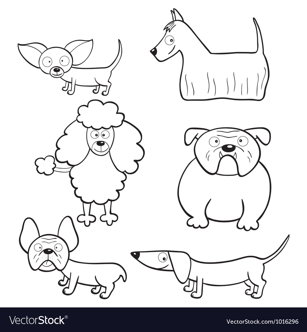 Image of: Illustration Coloring Book With Cartoon Dogs Vector Image Vectorstock Coloring Book With Cartoon Dogs Royalty Free Vector Image