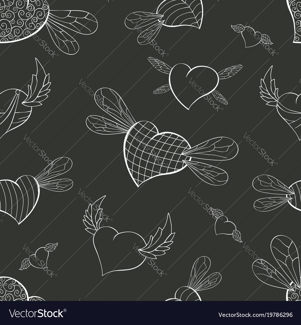 Contour winged valentines on a graphite background