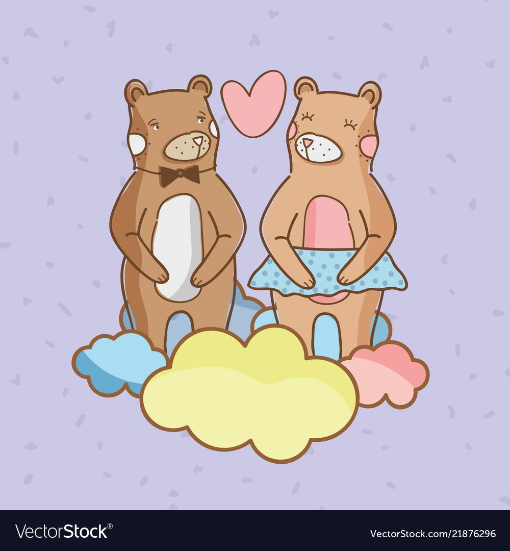 Cute bears in love