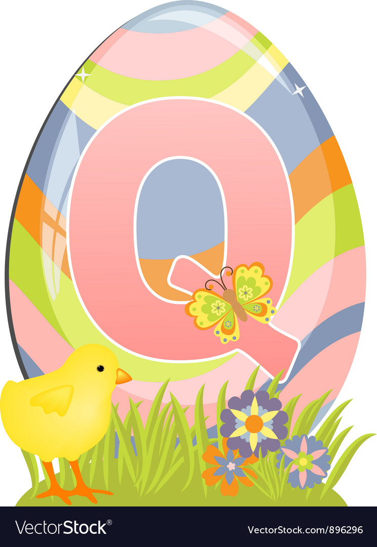 Cute initial letter Q Royalty Free Vector Image