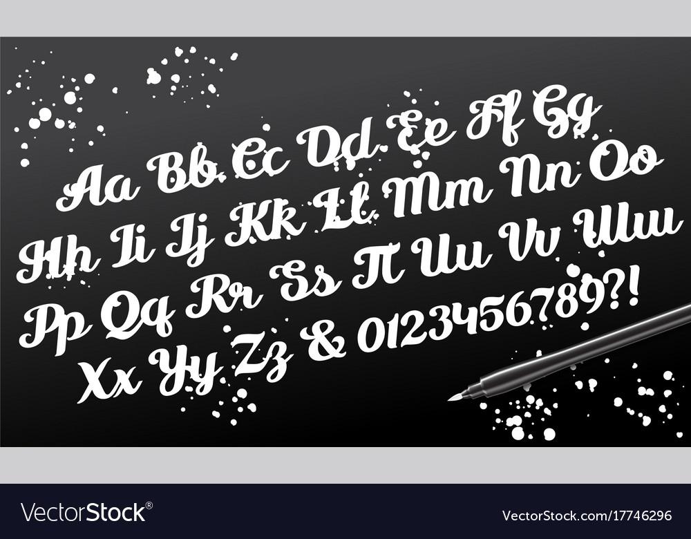 Hand drawn brushpen calligraphic alphabet