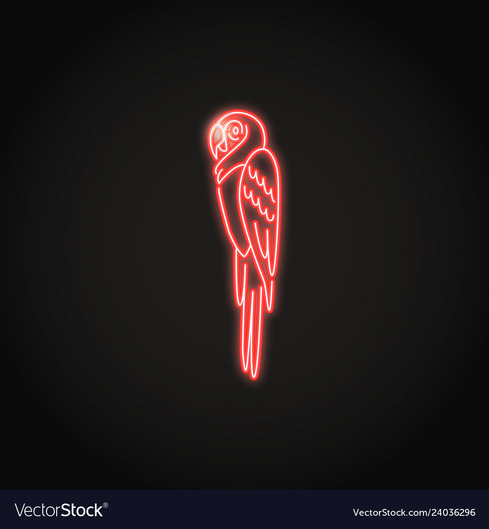 Macaw parrot icon in glowing neon style
