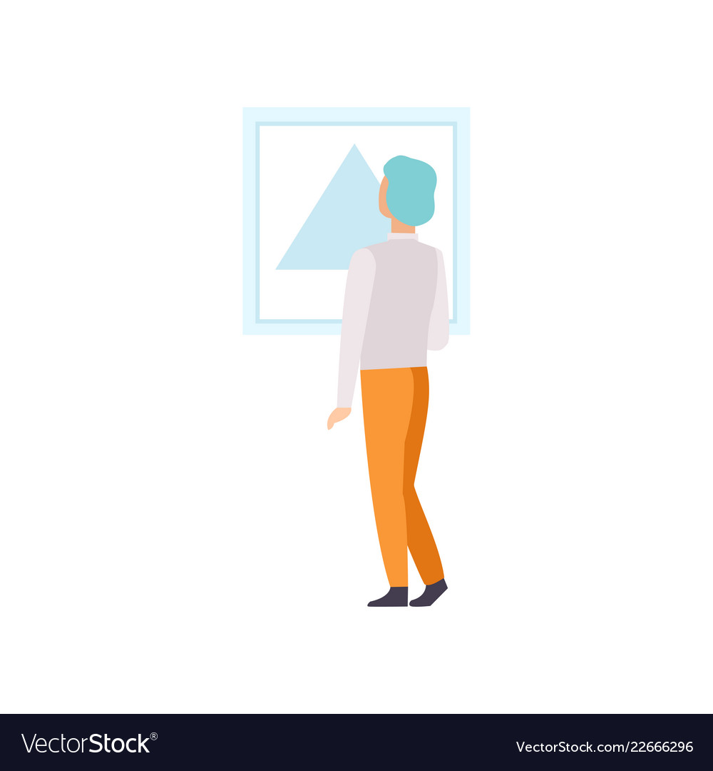 Man Looking At The Painting Hanging On The Wall