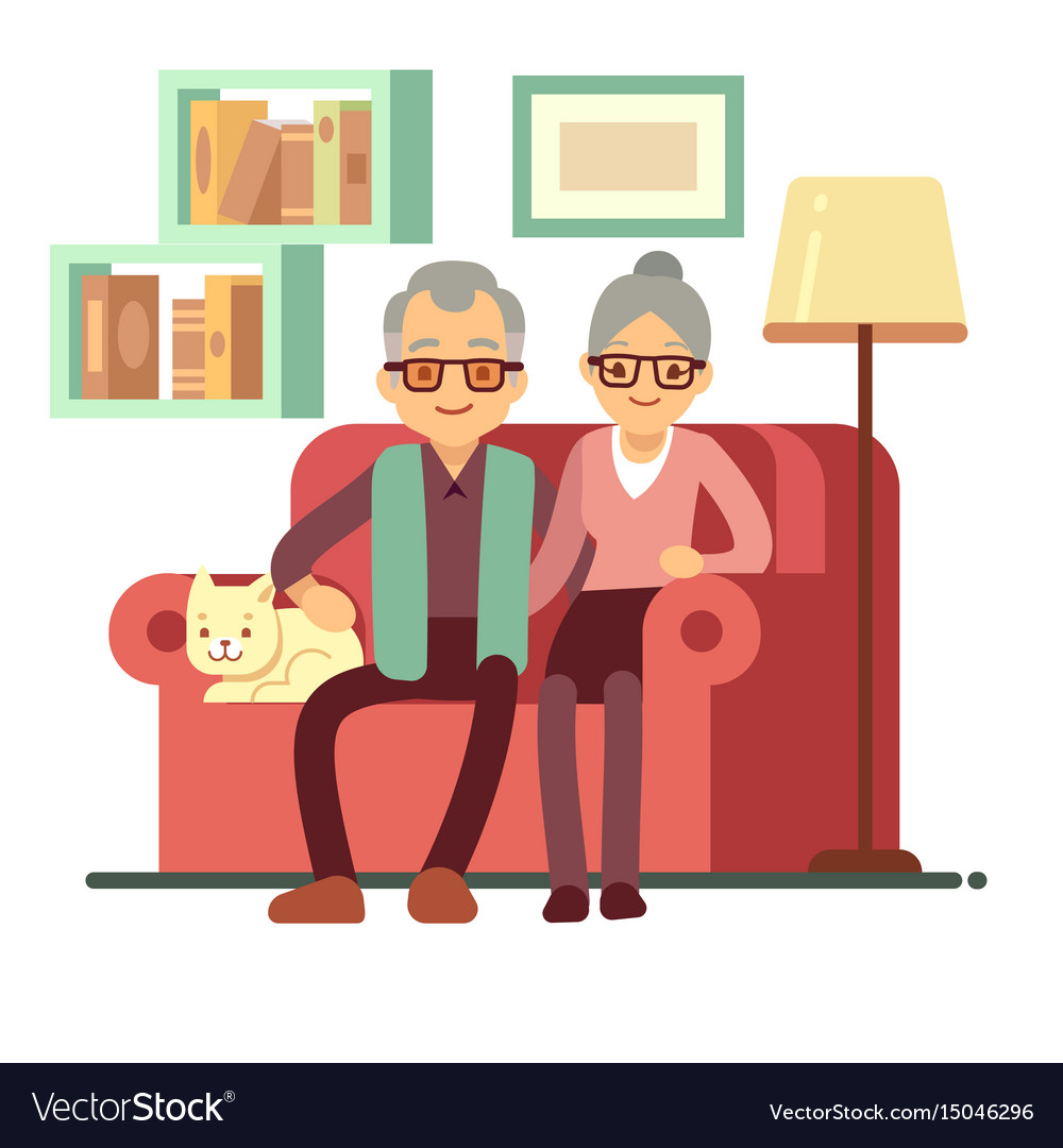 Old happy family - husband and wife on sofa at vector image