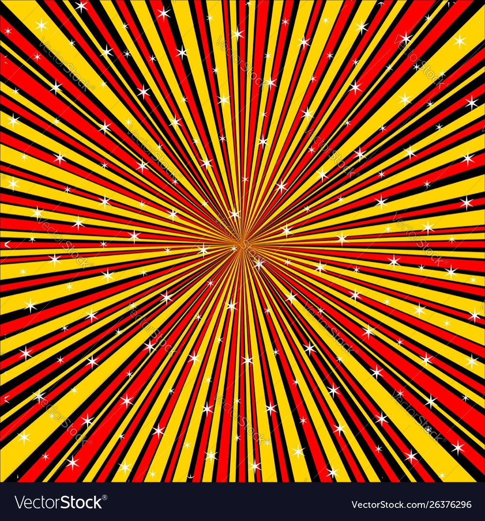 Red Yellow Black And Rays Background With Stars Vector Image