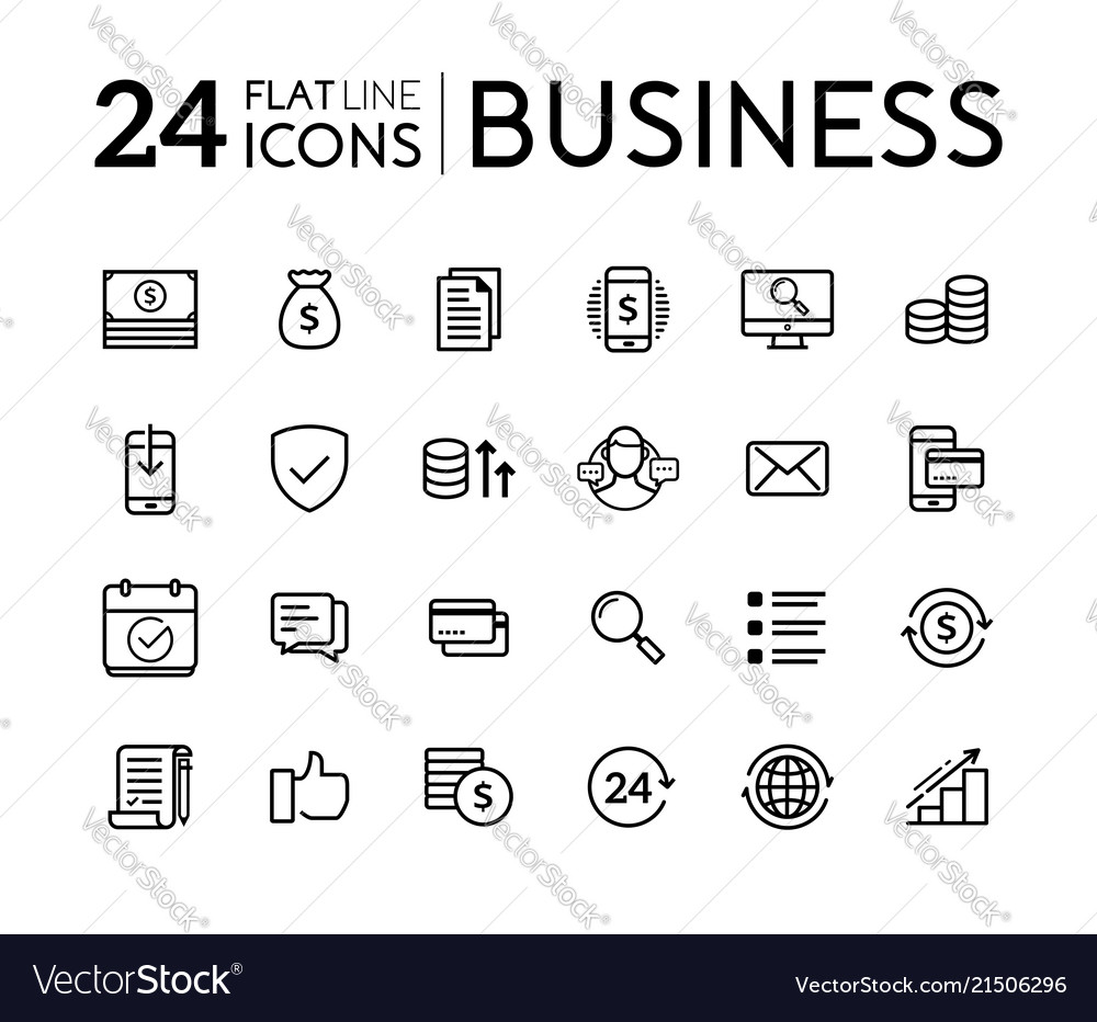 Set line flat icons for business