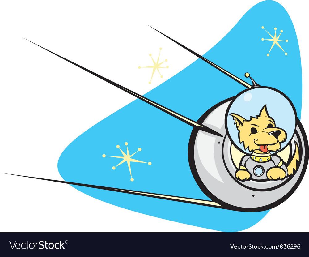 Sputnik Satellite and dog vector image