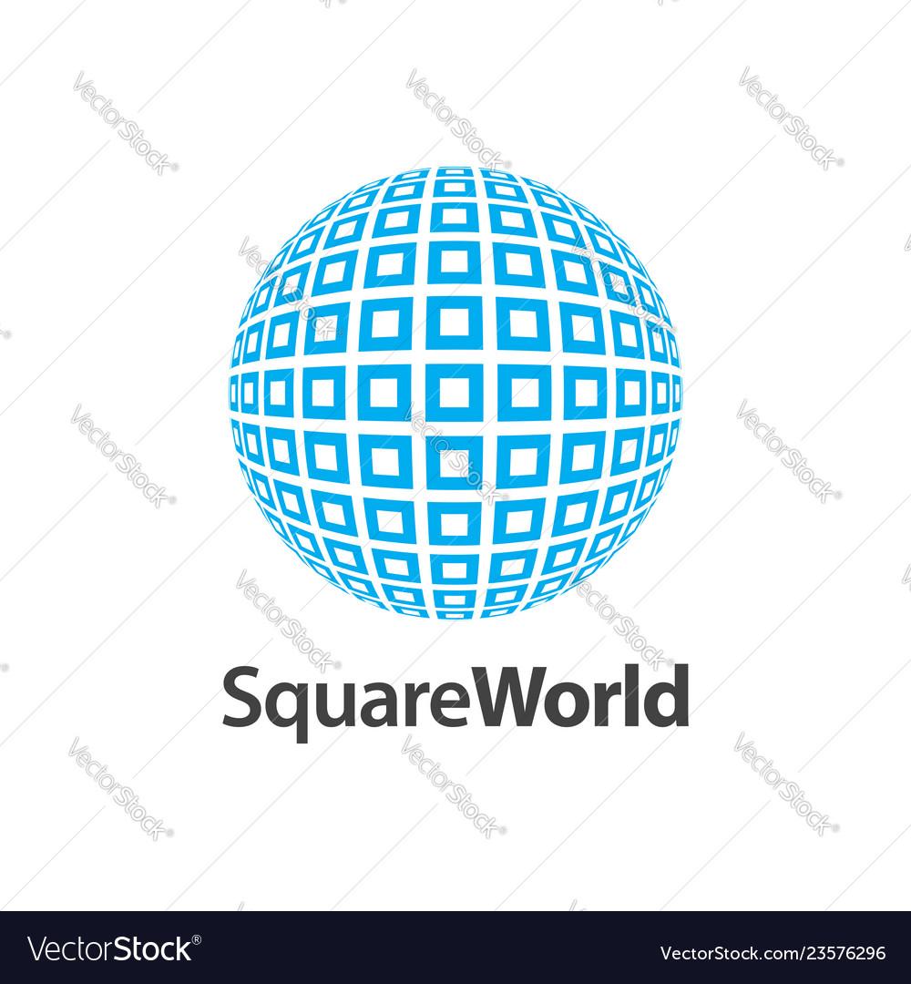 Square world pattern logo concept design symbol