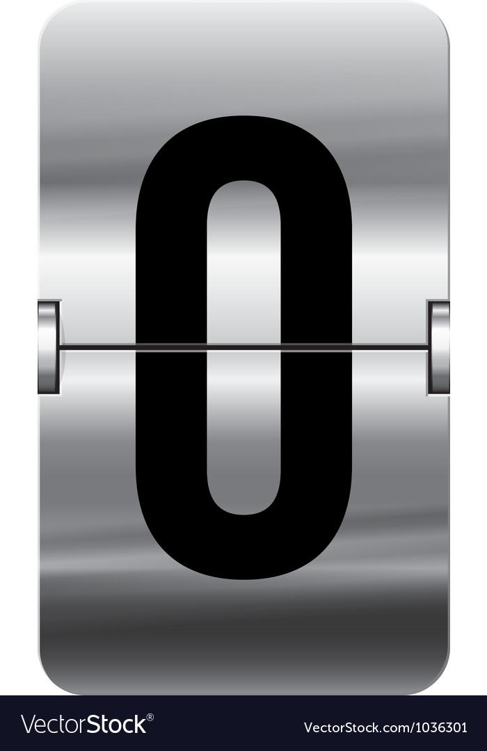 Alphabet silver flipboard letters 0 vector image