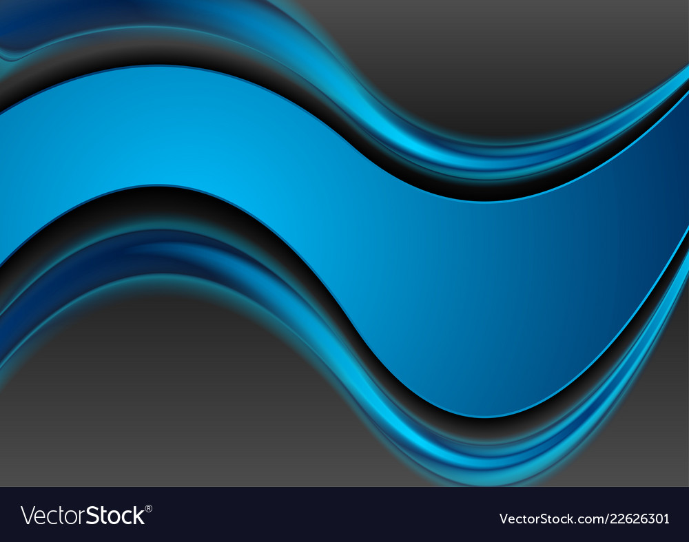 Blue and black contrast smooth waves corporate