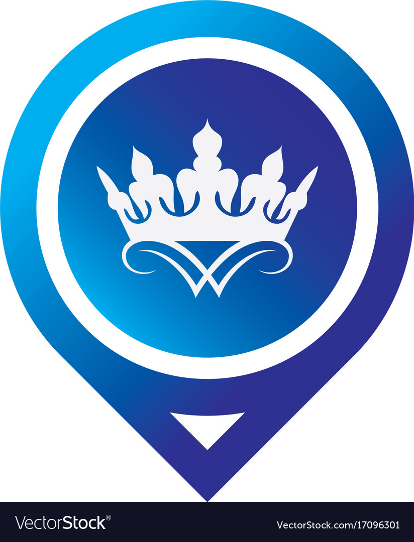 Circle pin crown logo