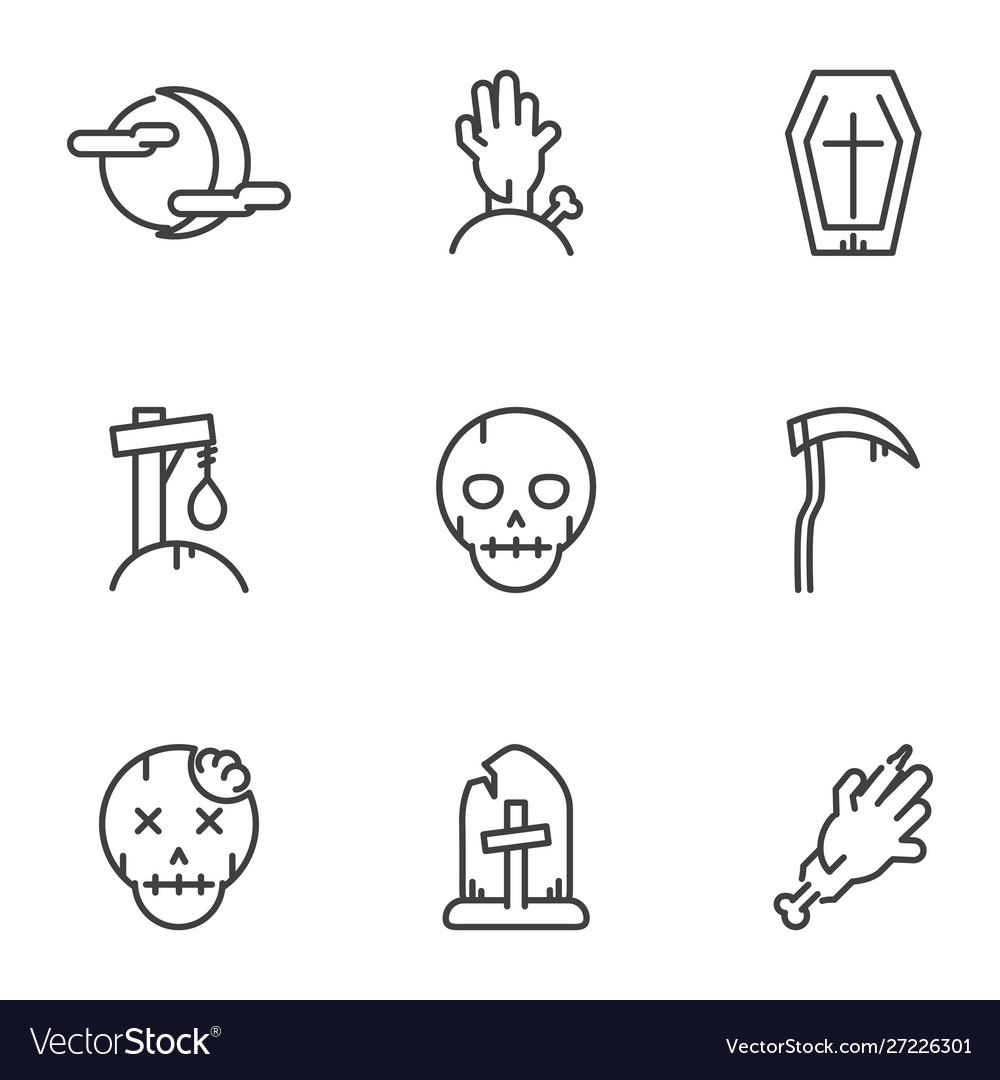 Collection icons trick or treat happy halloween