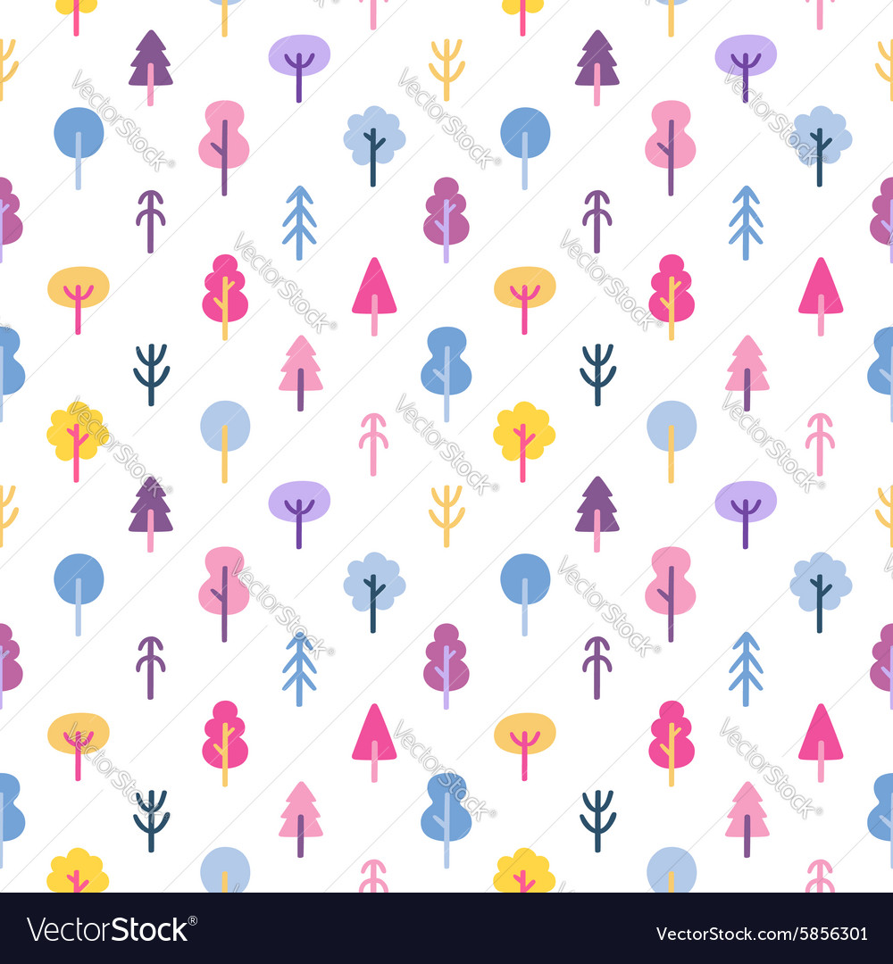 Colorful abstract trees seamless pattern