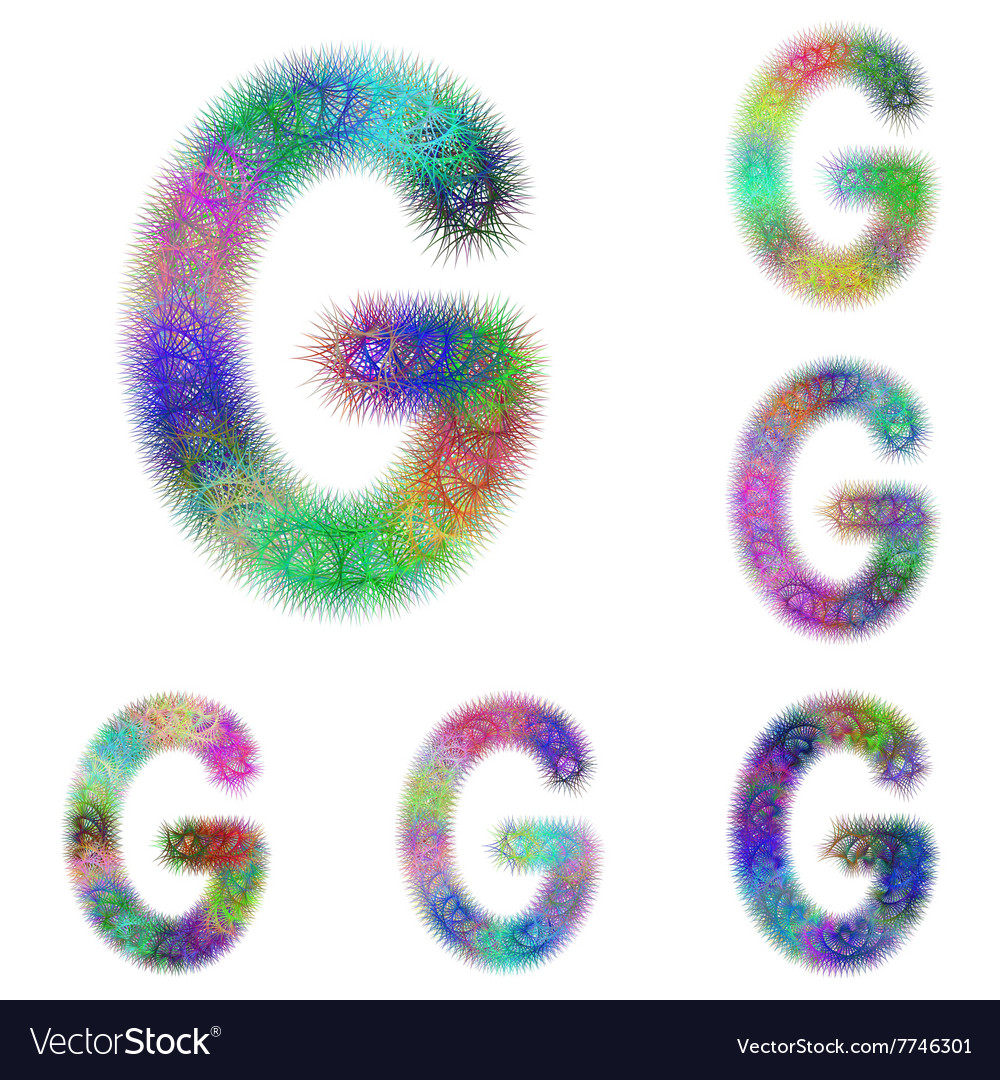 Happy colorful fractal font set - letter G