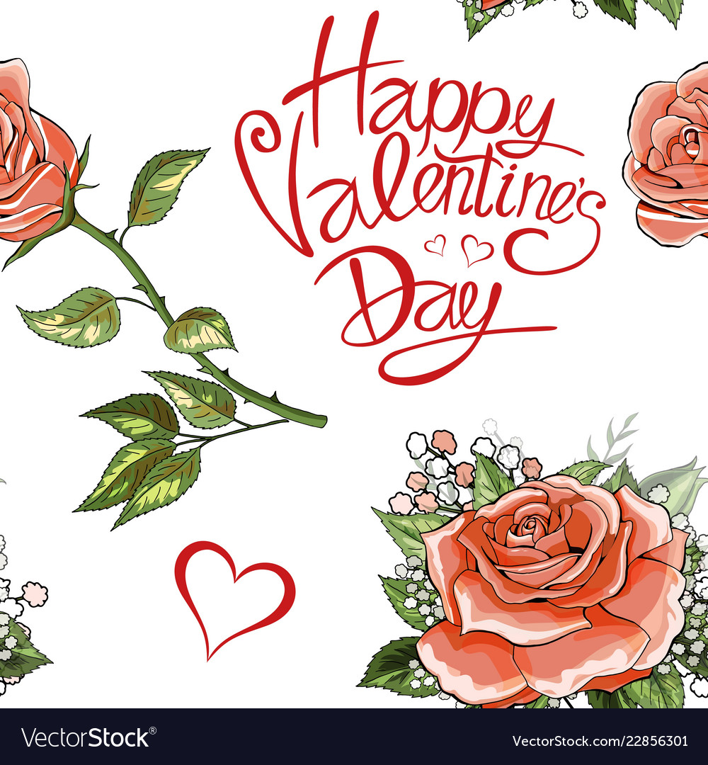 Happy Valentines Day Pink Rose Flowers Elements Vector Image