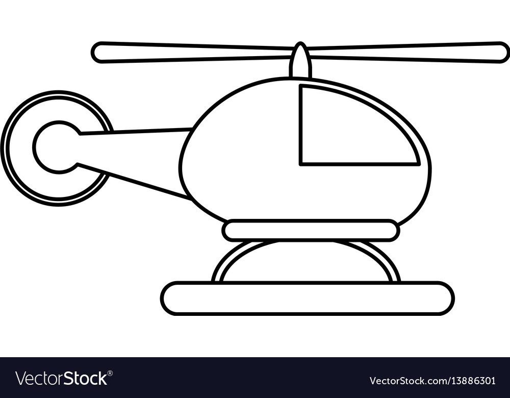 Helicopter transport commercial outline vector image