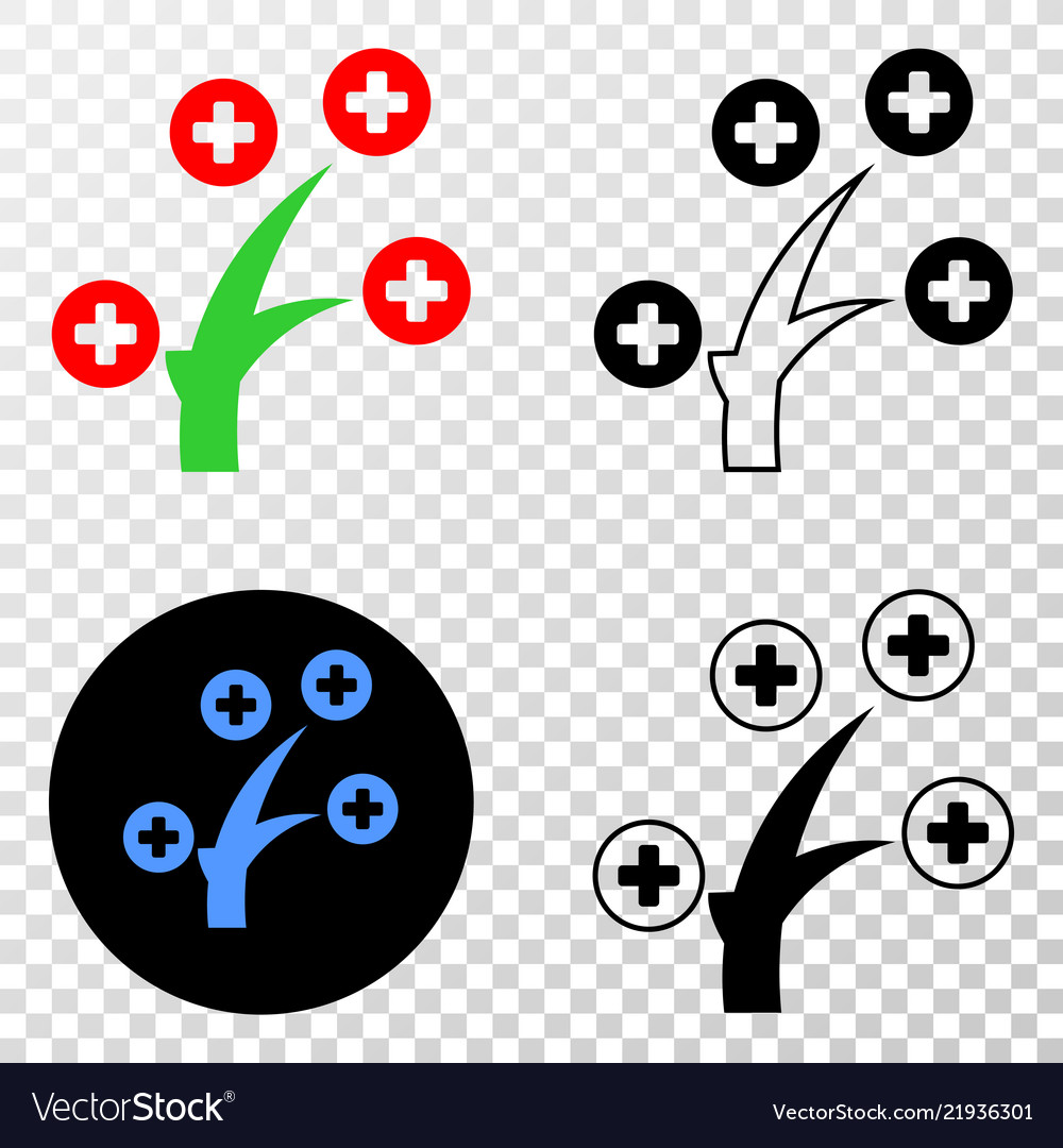 Medical tree eps icon with contour version