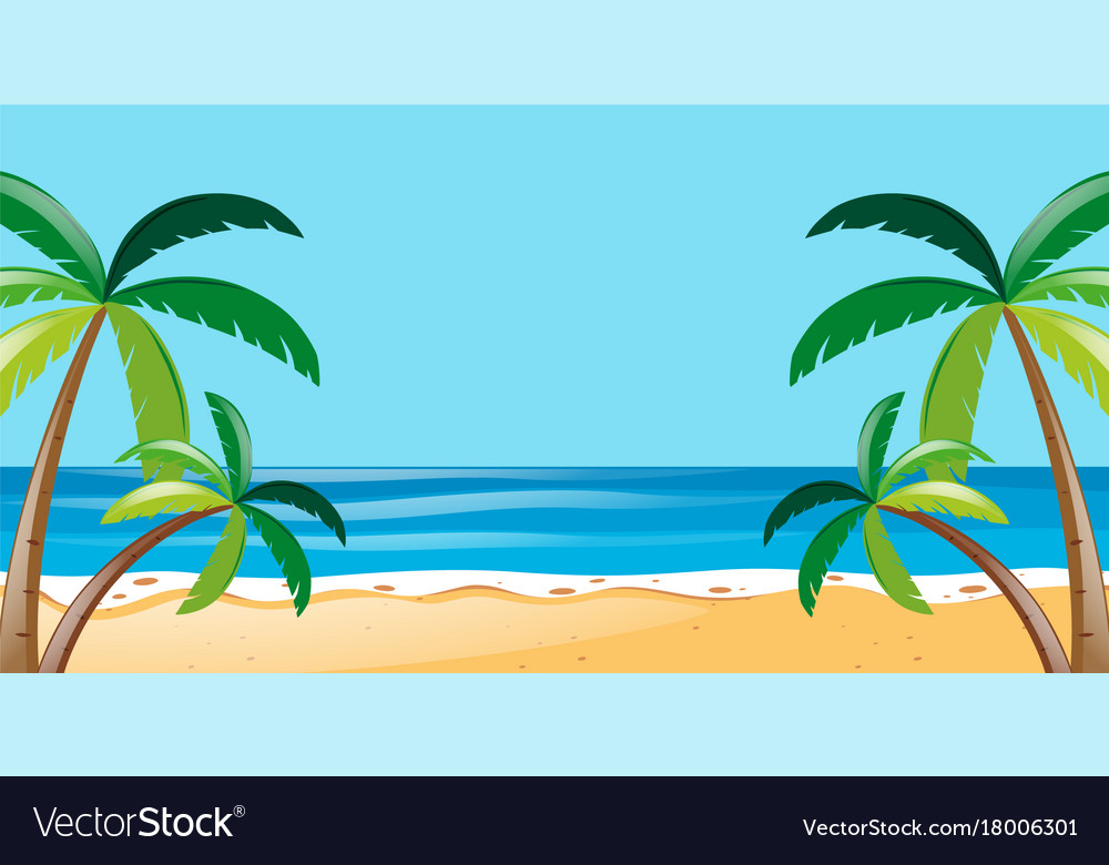 Nature Scene With Trees On The Beach Vector Image