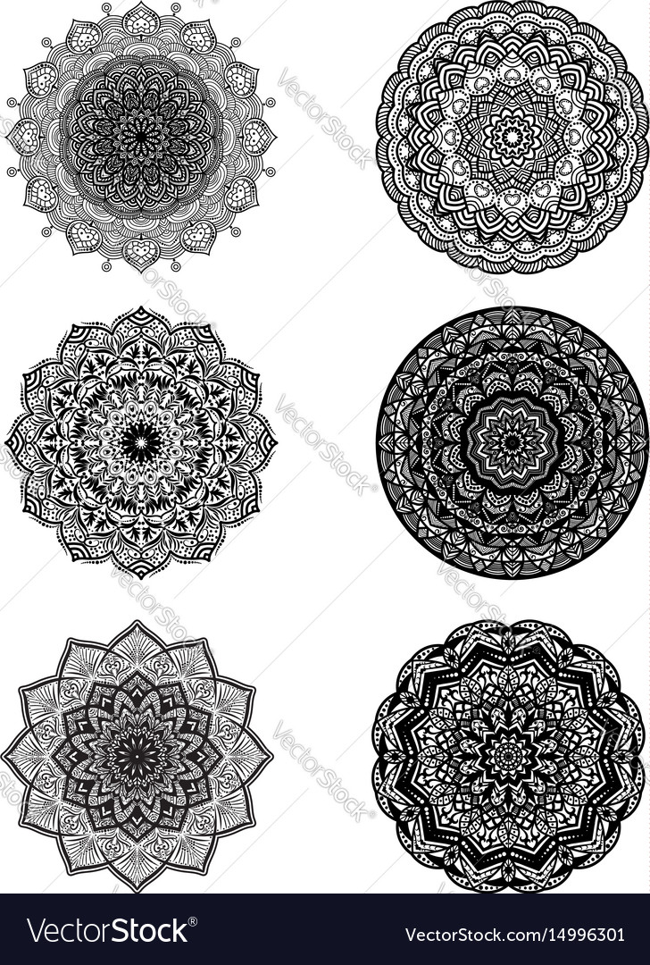 Set of mandalas for decorative round ornaments