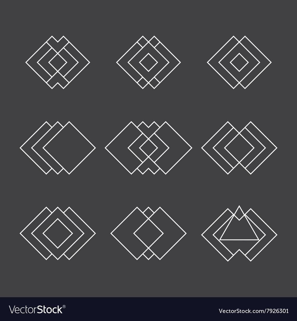 Set of trendy geometric shapes Ethnic tattoo vector image