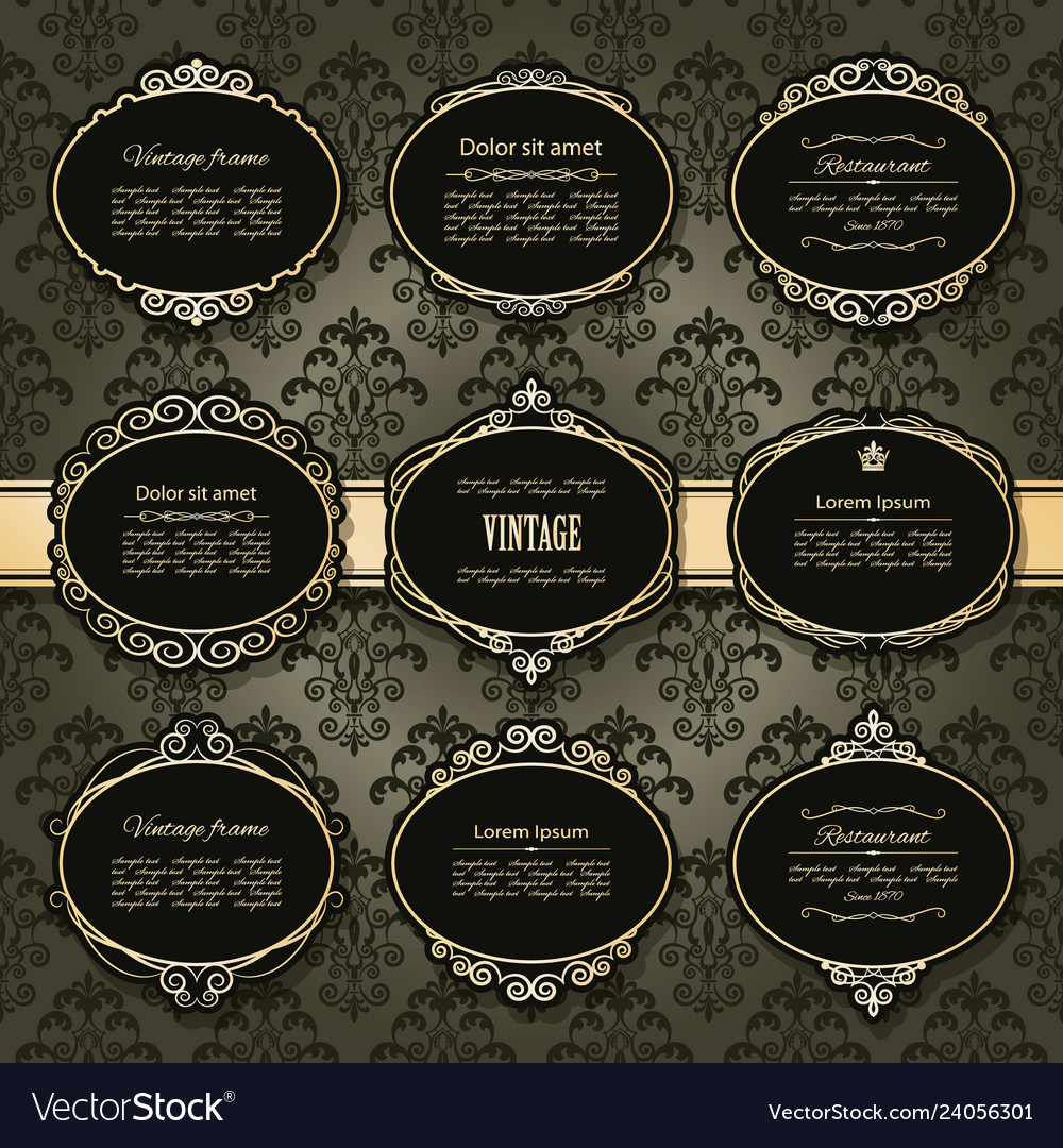 Vintage golden frames and labels set on damask