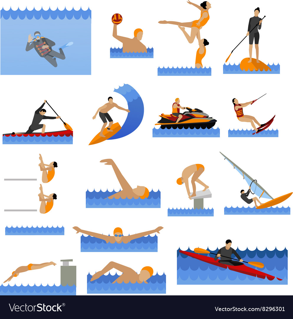 Water sport icons set with people swimming