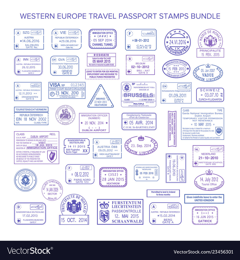 western europe common travel visa stamps set vector image