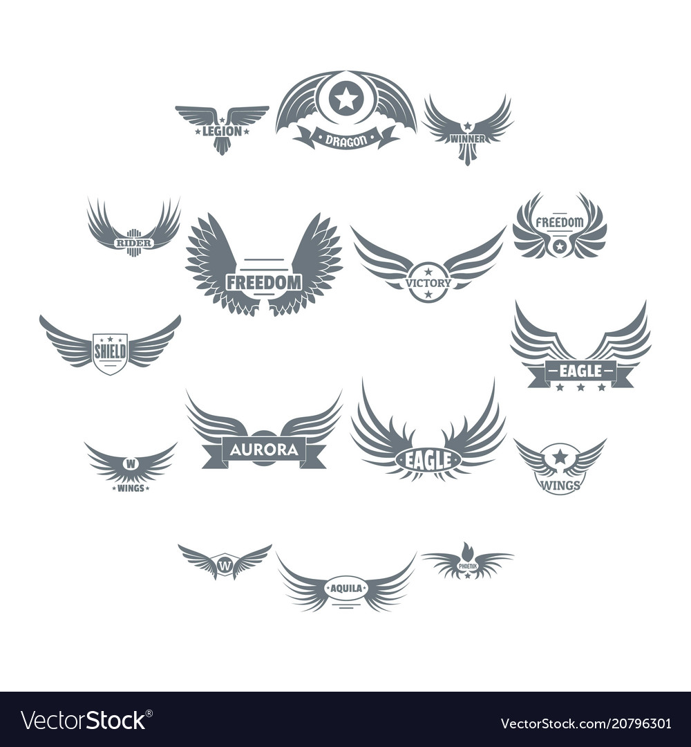 Wing logo icons set simple style vector image