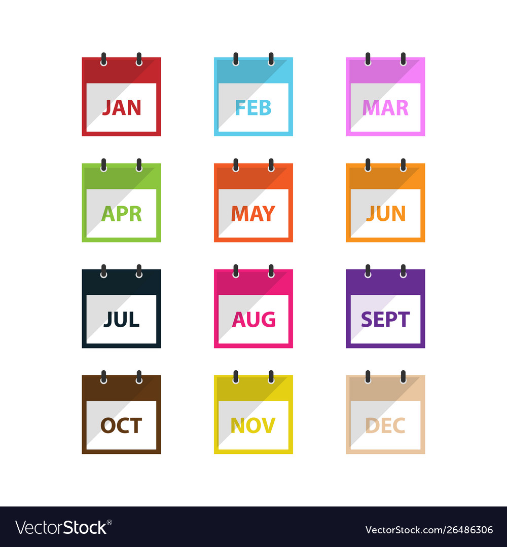 A month calendar icon in modern flat style for