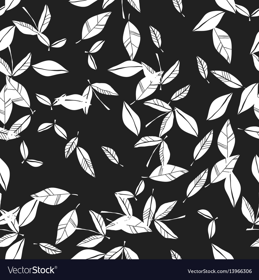 Black and white seamless pattern of falling leaves
