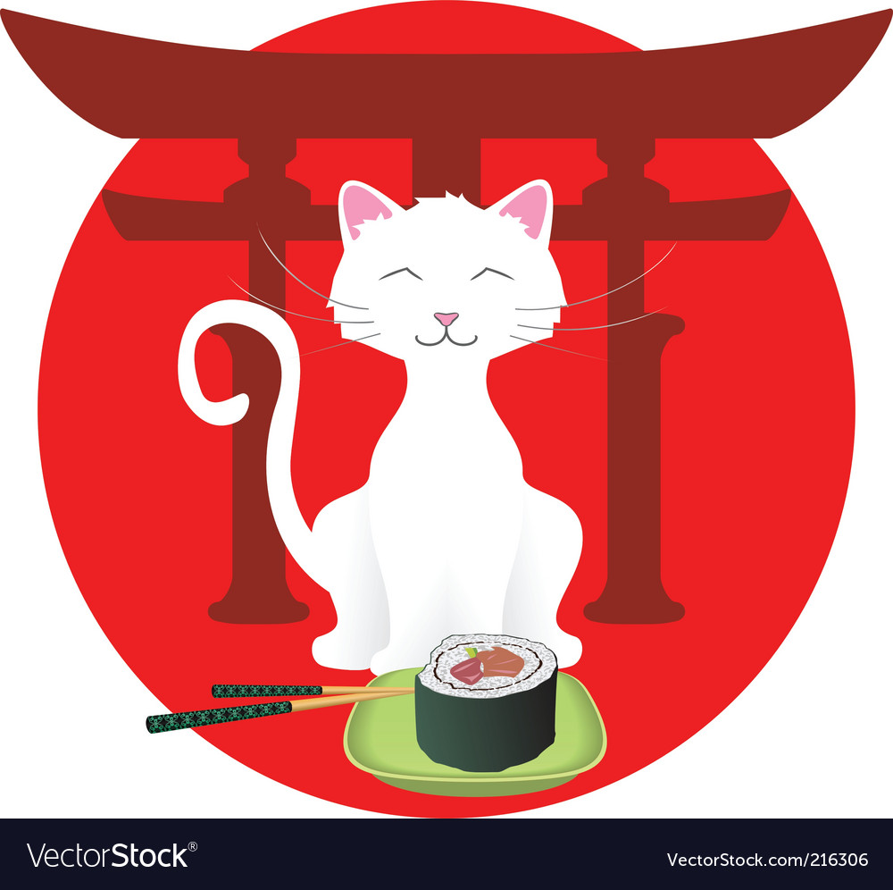 Cartoon cat with sushi vector image