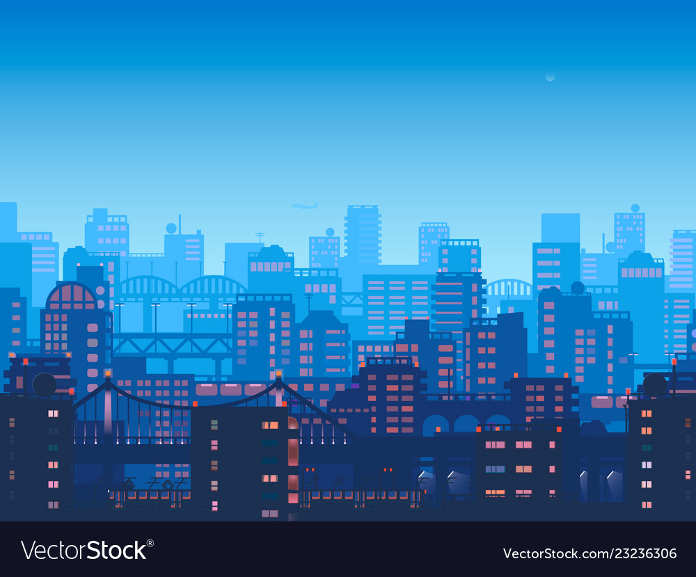 City at night town in flat style design