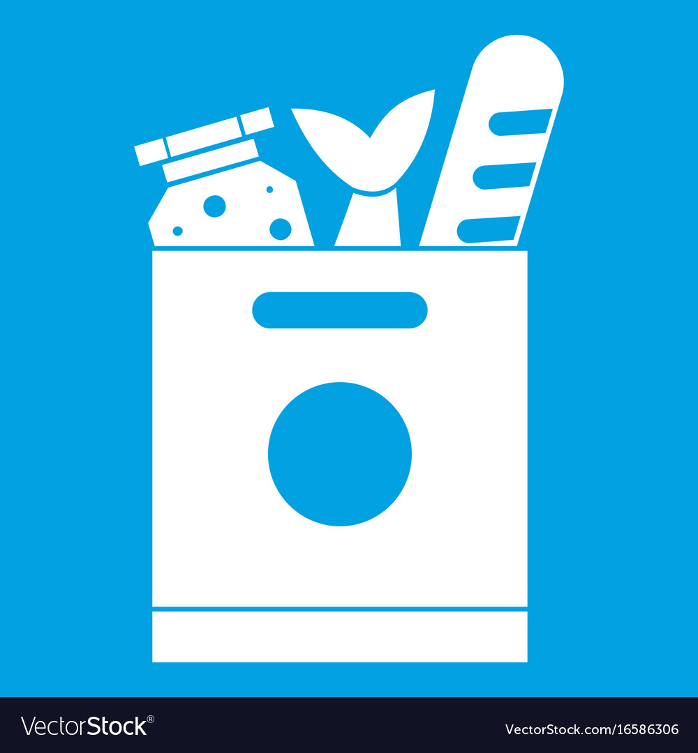 Grocery bag with food icon white