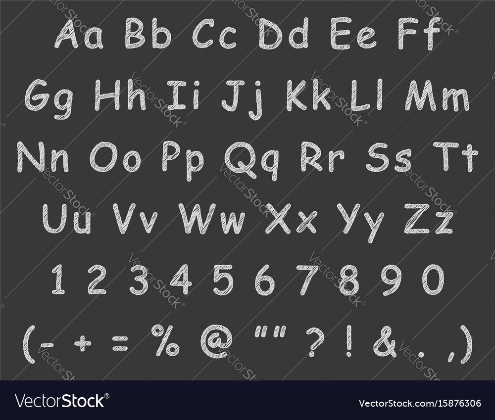 Handwritten letters english alphabet chalk