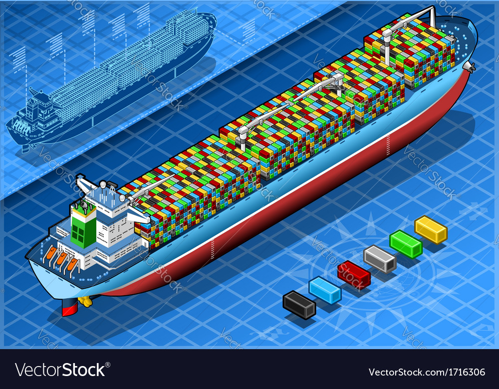 Isometric Cargo Ship with Containers Isolated in