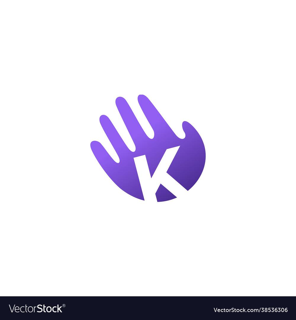 K letter hand palm hello logo icon