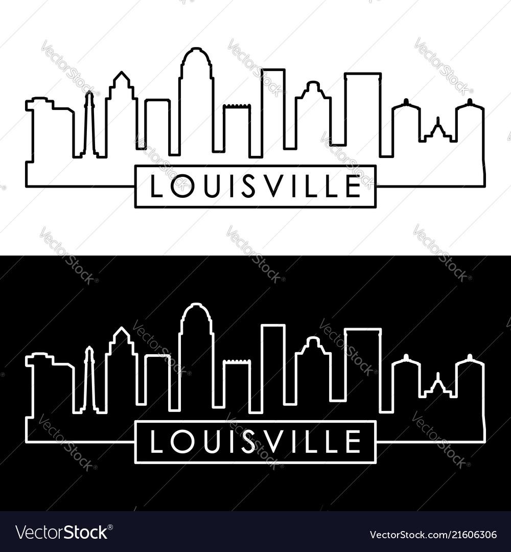 Louisville skyline linear style editable file