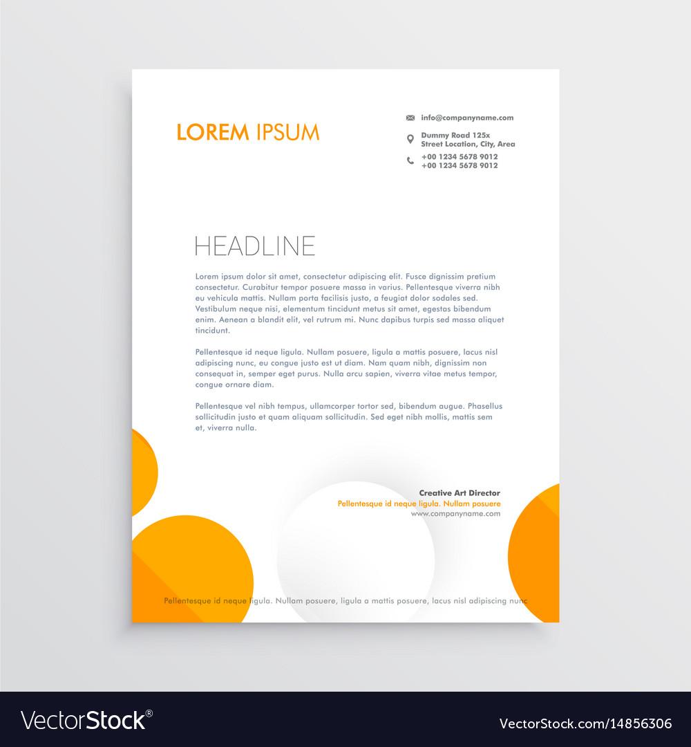Minimal letterhead design with orange and white vector image