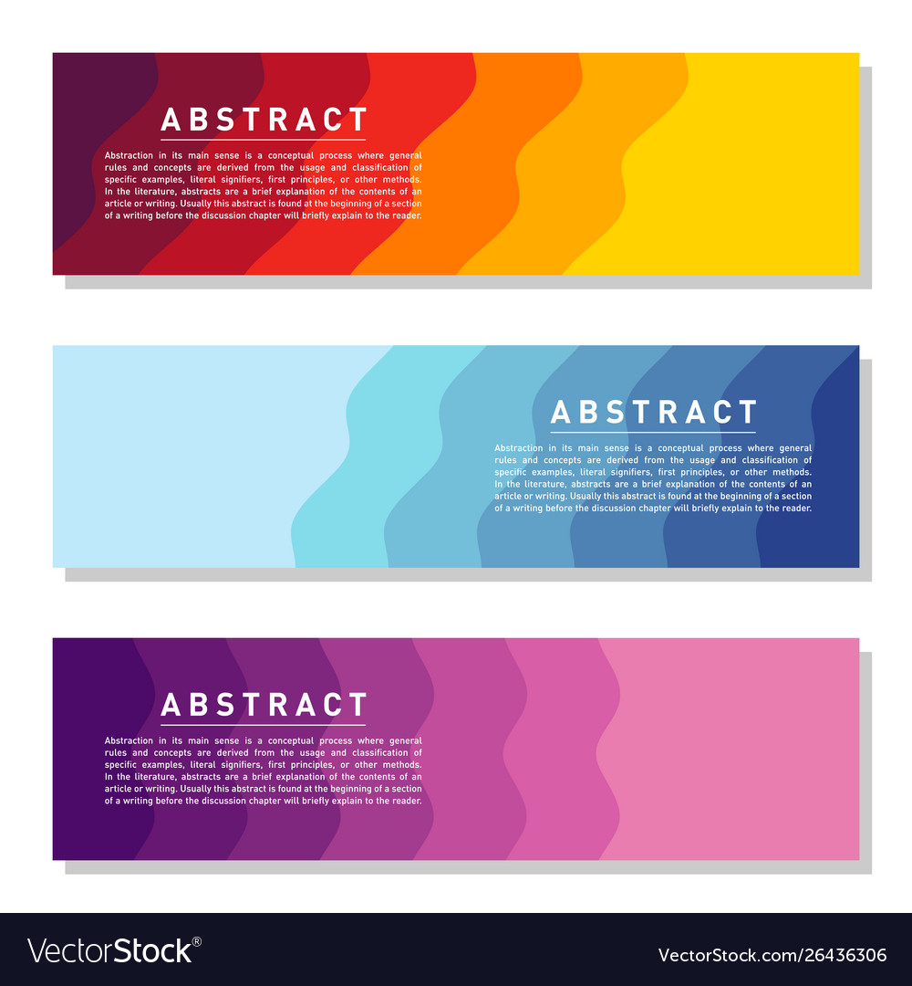 Modern abstract banner set cool gradient shapes