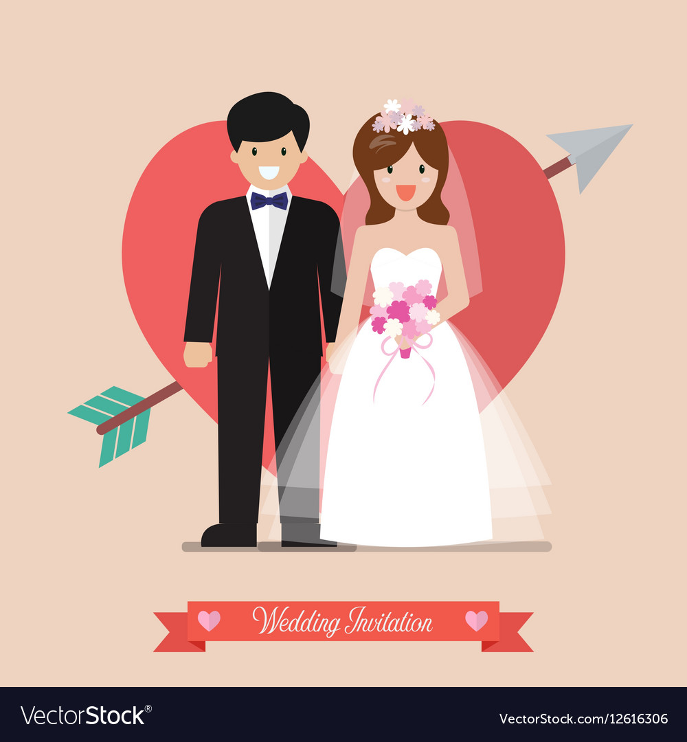 Newlyweds bride and groom wedding invitation