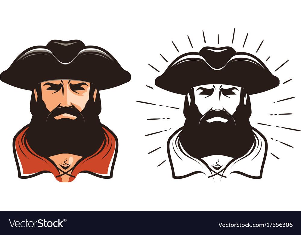 Portrait of bearded man in cocked hat cartoon