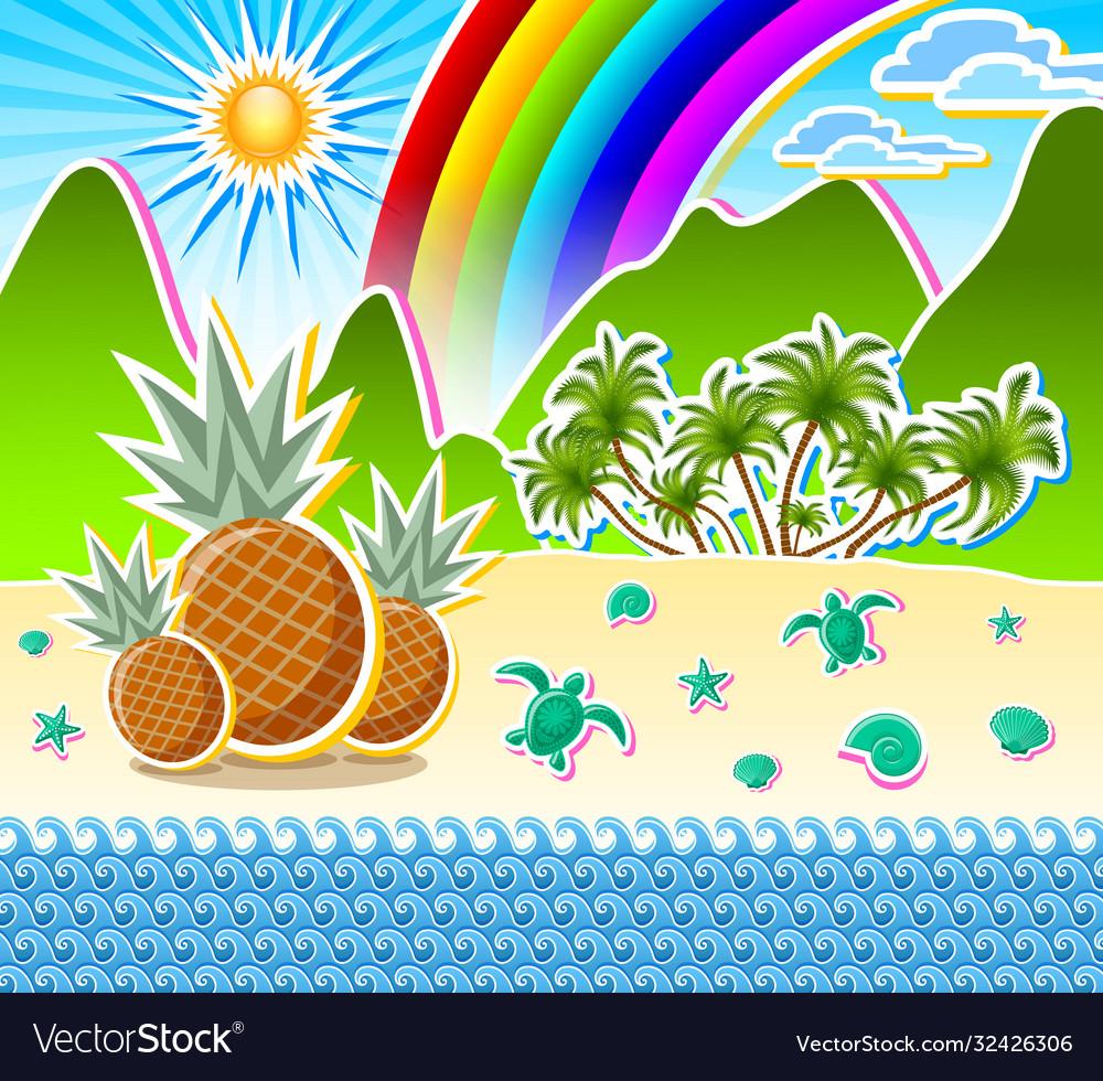 Tropical island seashore scenery sandy beach full