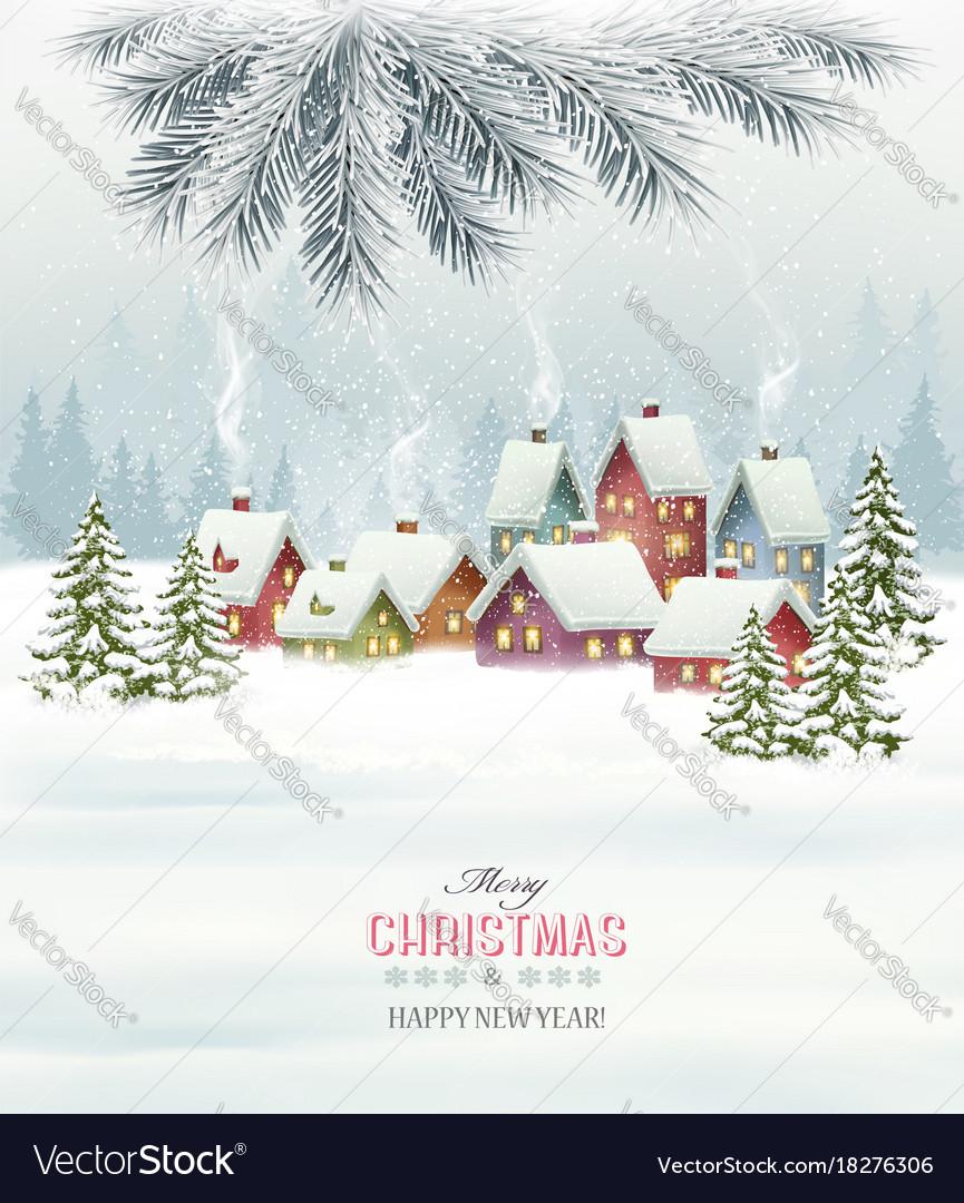 Winter village night new year background