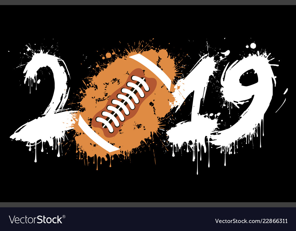 Abstract number 2019 and a football ball of blots