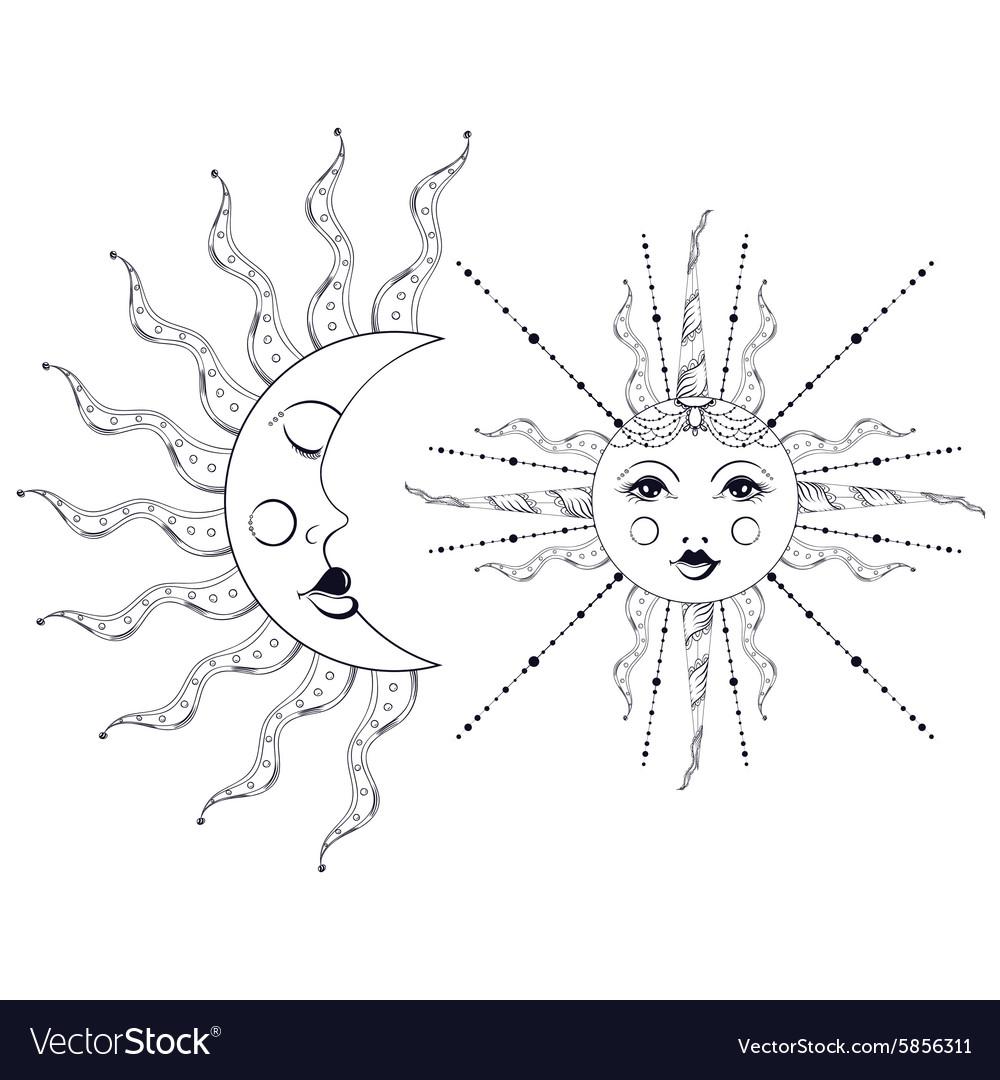 Boho elegant sun and vintage moon tattoo zentangle vector image