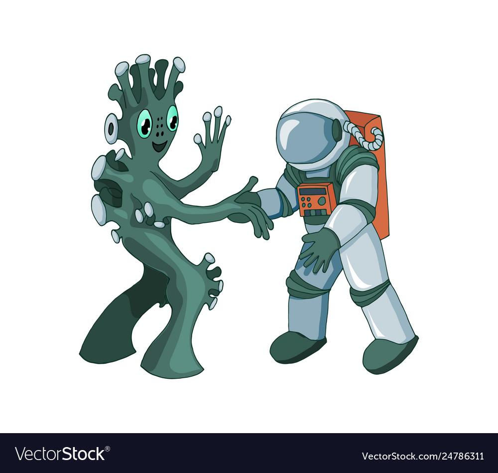 Cartoon alien meeting and handshake in space