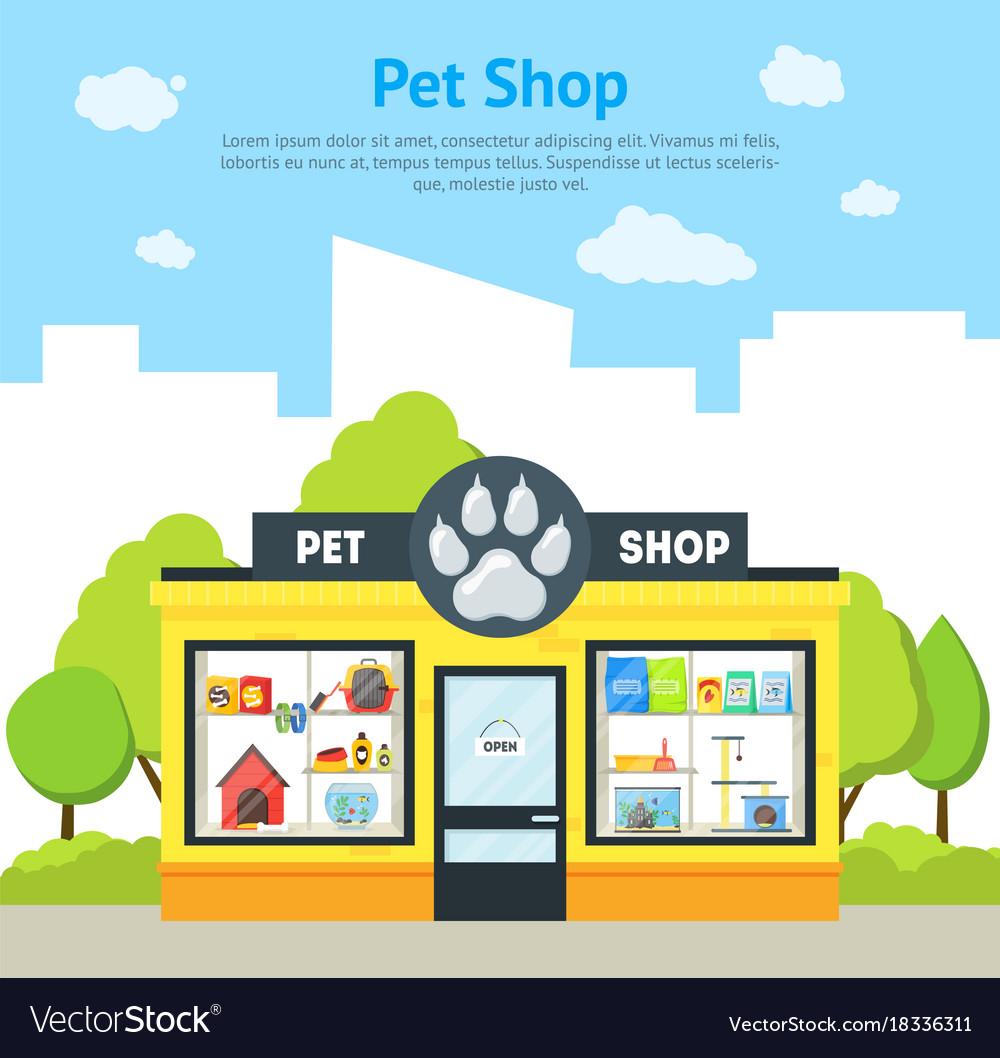 Cartoon pet shop building card poster vector image