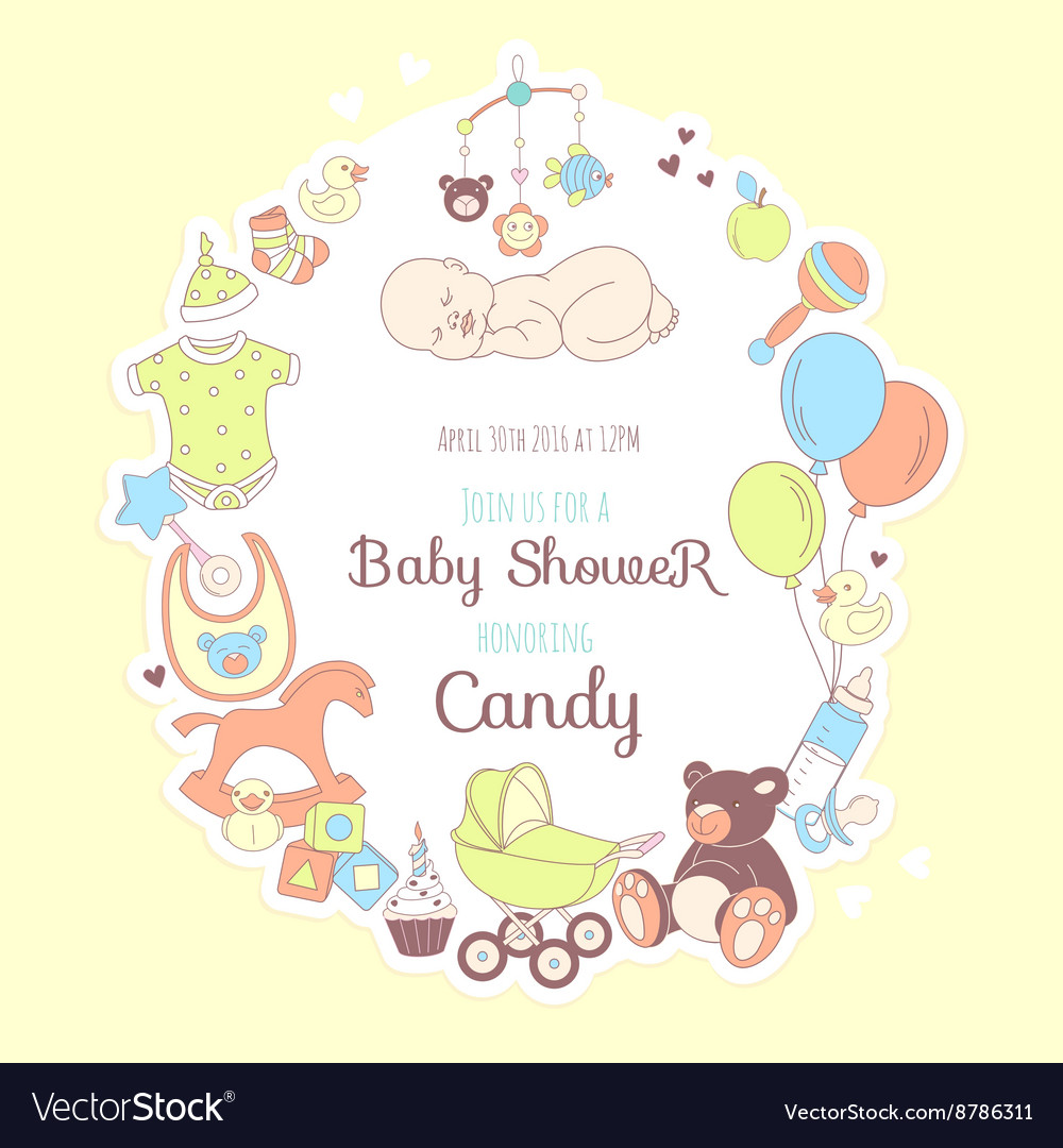 Cute Baby Shower Invitation For Boy Or Party